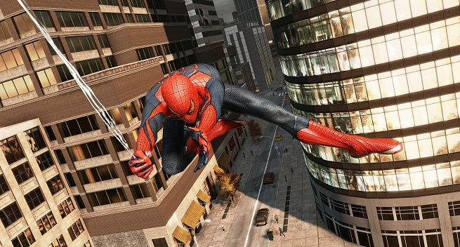 The Amazing Spider-Man swings through the city