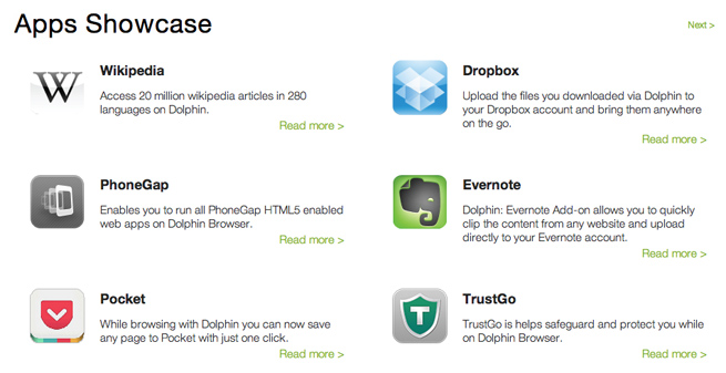 Dolphin Browser opens API to third-party apps, Dropbox, Evernote
