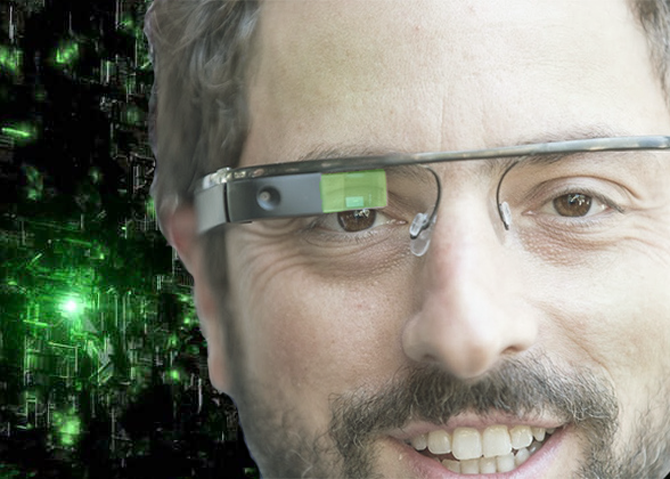 Sergey Brin as a Google Glass-wearing member of the Borg
