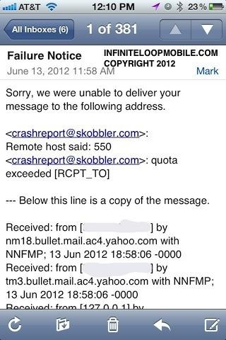 ios6 error email