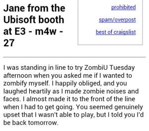 Craigslist Ad LA E3 2012
