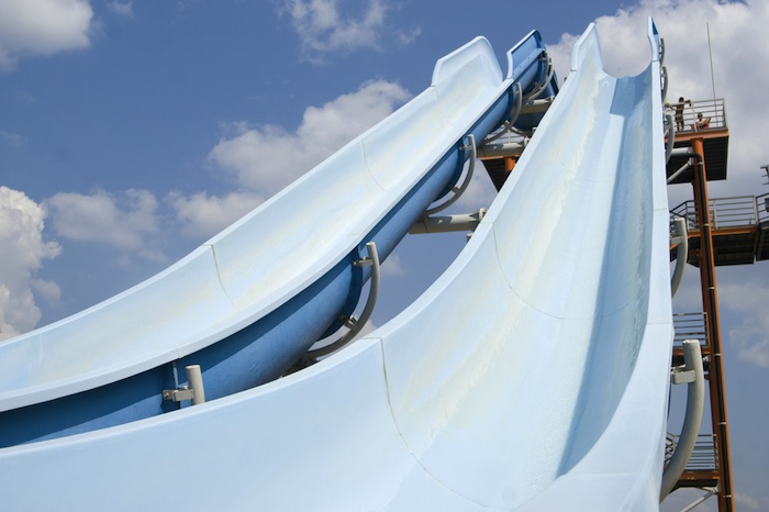 Groupon's stock has been on a long slide, just like at this water park