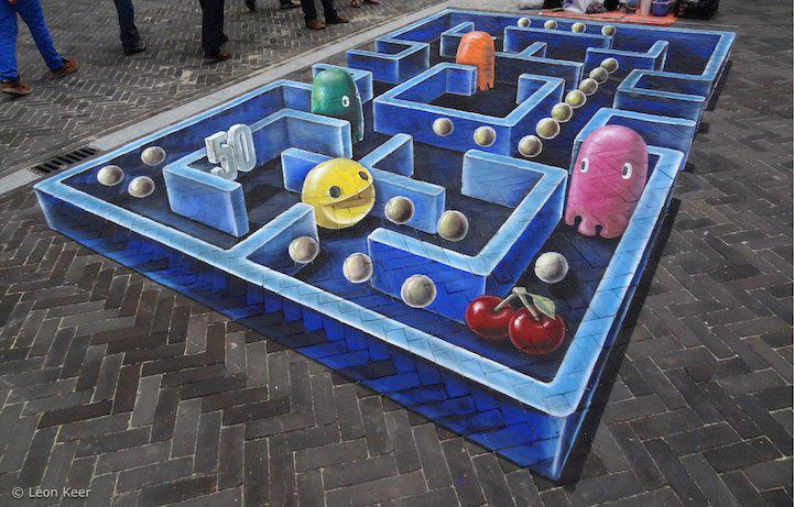 3D Pacman chalk art