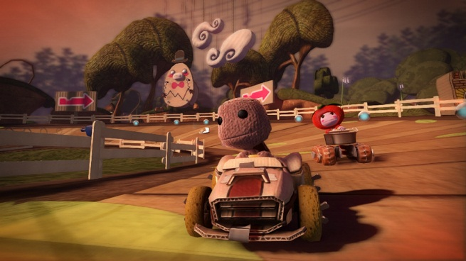 Sackboy keeps his lead on a colorful track within LittleBigPlanet Karting