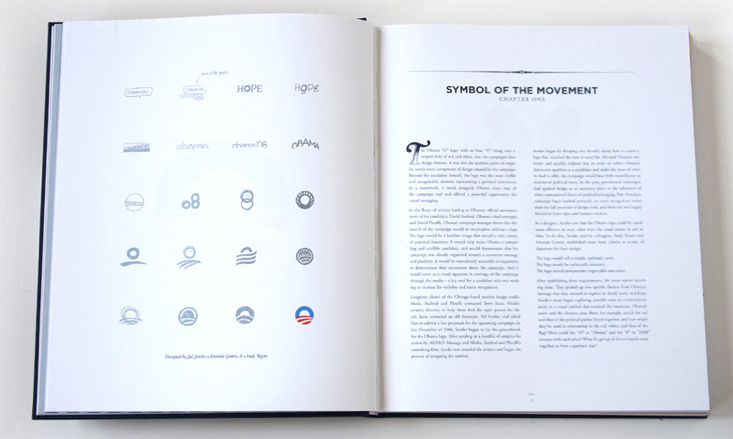 Two pages from the book Designing Obama