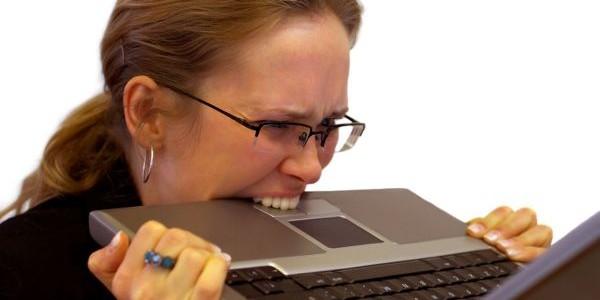 Girl eating laptop
