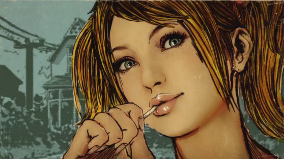 Juliet Starling eating a signature lollipop