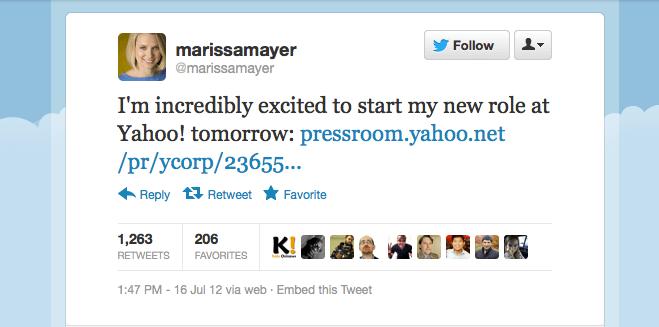 Marissa Mayer tweet