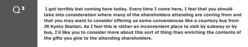 Question 3 from Nintendo's 72nd annual shareholders meeting
