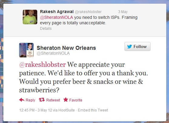 customer service done right at Sheraton