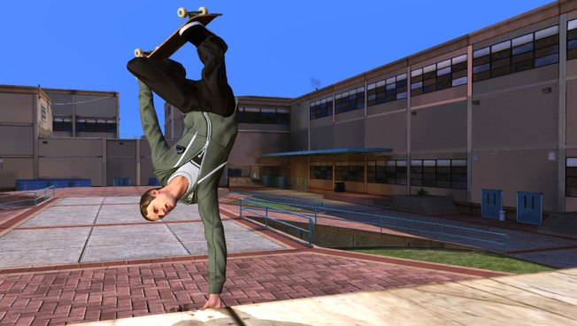 Tony Hawk does a handplant in THPS HD