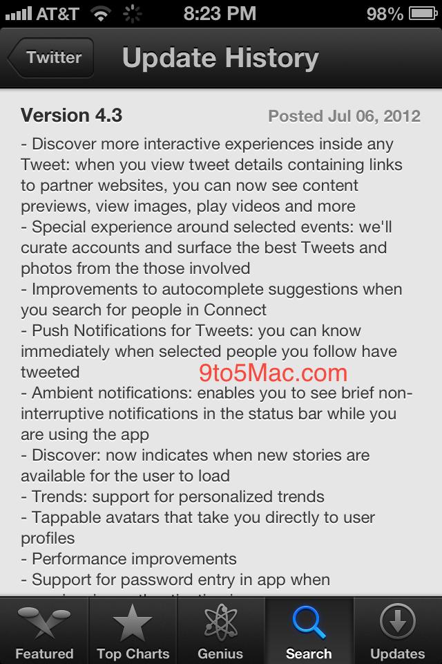 Twitter ios6 Leak