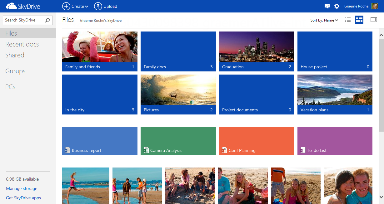 Microsoft unveils modern ui new android app for skydrive for Web design tile layout