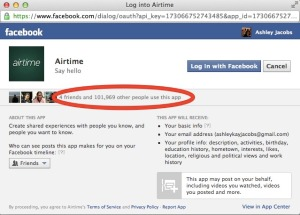 Facebook's information screen on airtime shows a bit less than 102,000 users