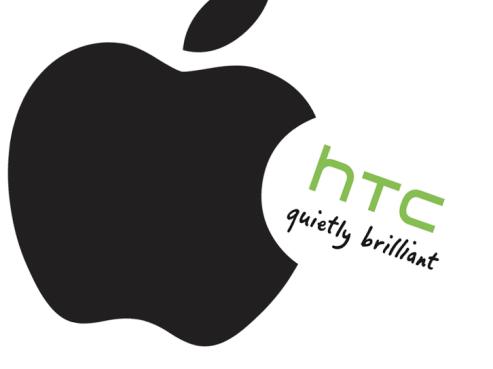 Apple logo eating HTC logo