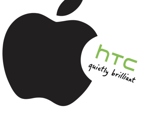 Apple logo eating HTC logo