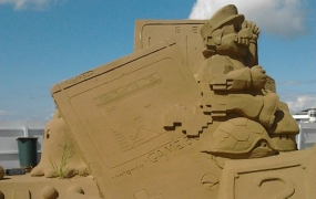 Game Boy sand sculpture