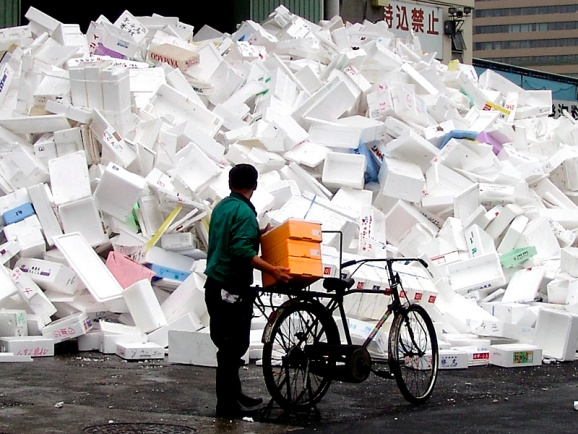 A huge pile of styrofoam packaging material.