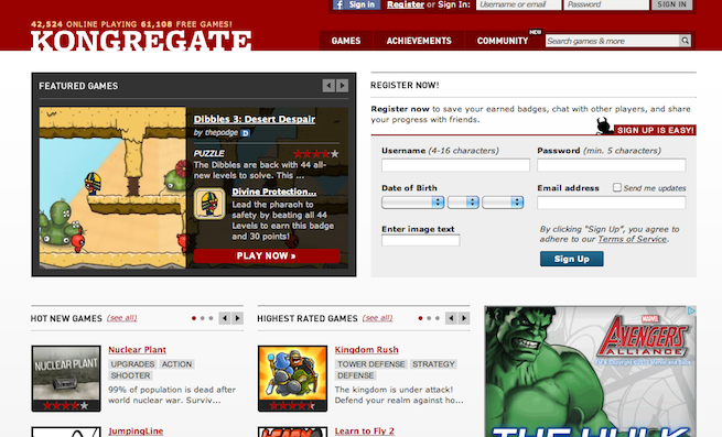 Kongregate web fron as of 8/16/12