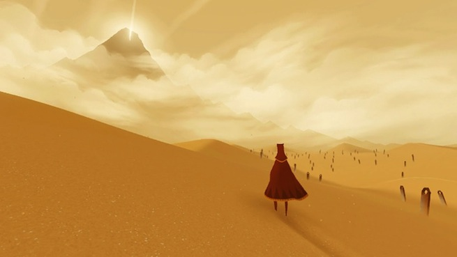 A lone avatar on a wide stretch of sand, mountain peak in the distance