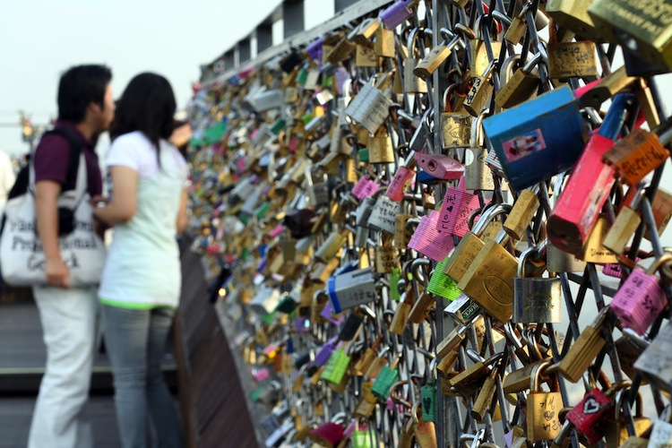 Korean love lock wall