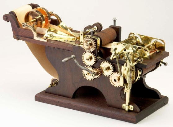 Model of a machine for making paper bags, patented in 1879