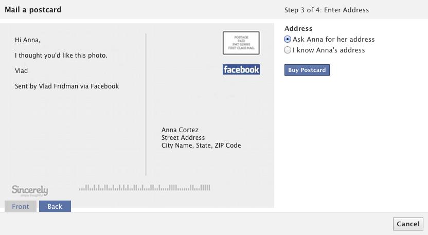 Просто, как отправить открытку другу на стену в фейсбук