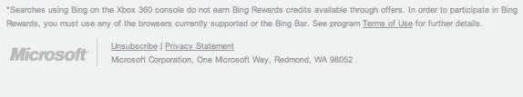Bing Rewards Xbox disclaimer