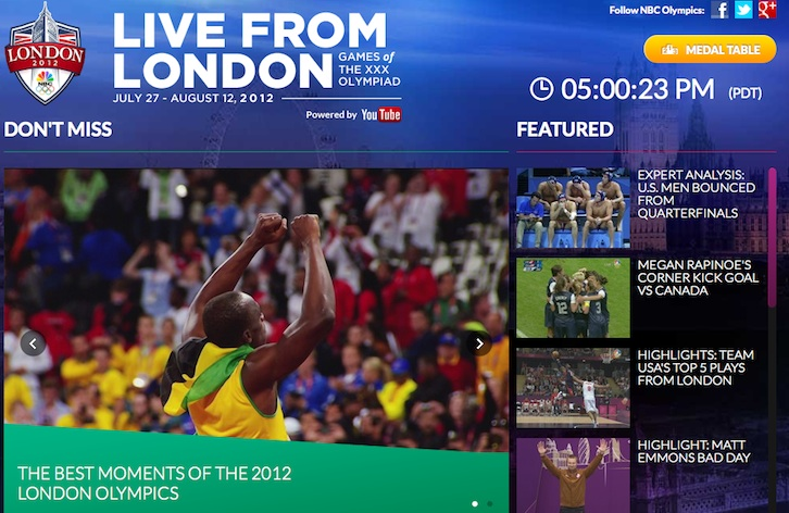 Screenshot of NBC's Olympics homepage