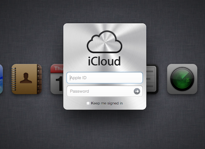 Apple iCloud.com portal sign-in screen