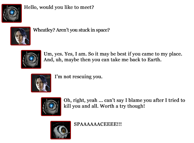 Chell comments -- Wheatley