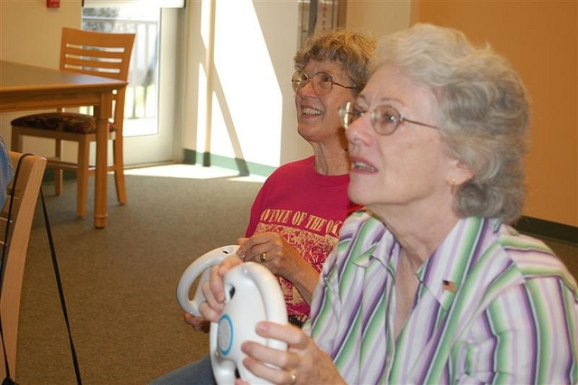 Two women play Mario Kart at the Floral City Public Library in Floral City, Fla.