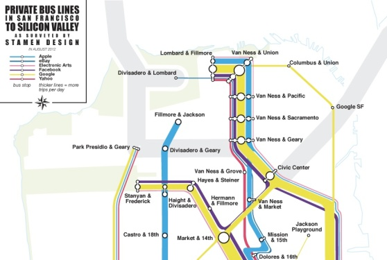 Stamen Design's visualization shows shuttle bus traffic to Google, Yahoo, Facebook, and more