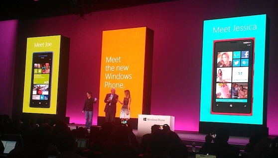 Microsoft's Joe Belfiore and Steve Ballmer, with Jessica Alba
