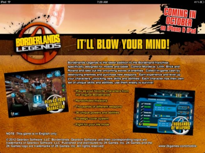 Borderlands Legends for iPhone and iPad
