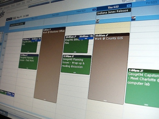 Photo of Google Calendar on a monitor