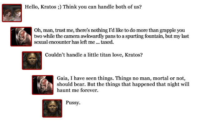 Kratos comments -- two girls, one titan