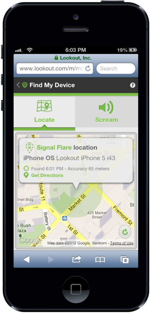 Lookout Signal Flare iOS
