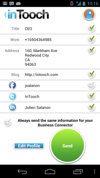 InTooch screenshot showing which info you want to share