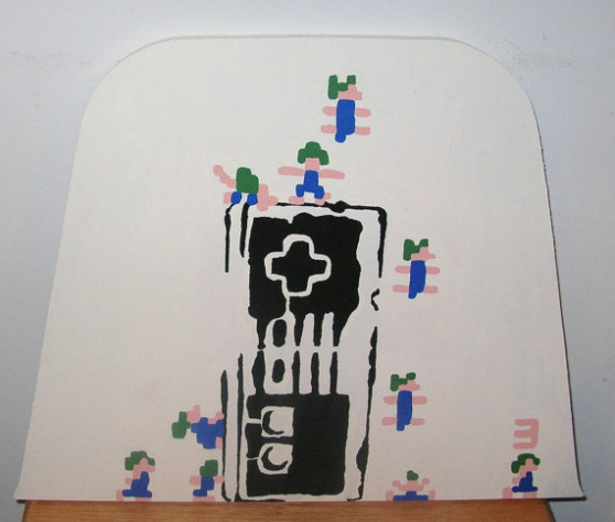Lemmings NES Nintendo Controller Hand Painted Wooden Plaque