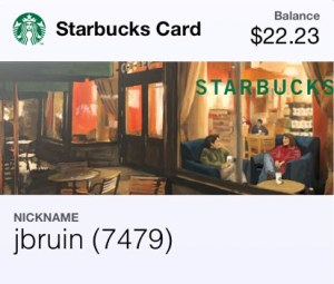 A virtual Starbucks card in Apple Passbook