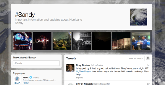 Twitter's homepage for hashtag #Sandy