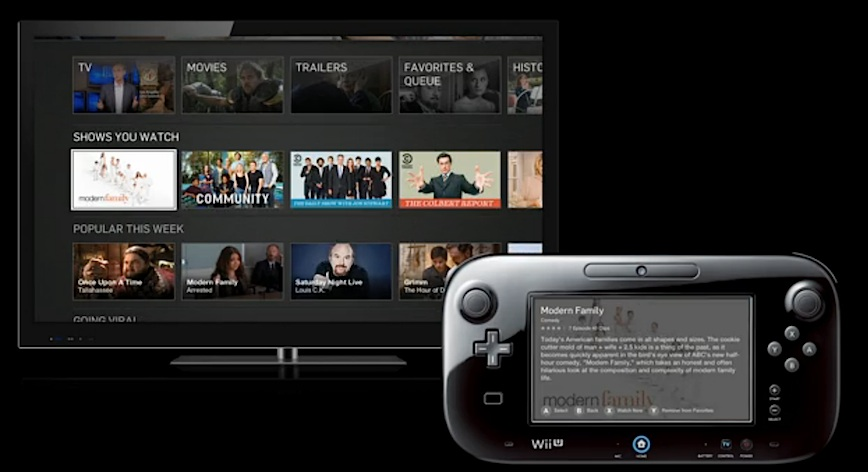 Hulu Plus for the Wii U combines TV screen controls with extra data on the handheld controller