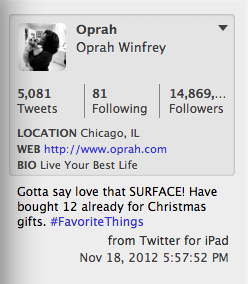 Oprah sends her tweets from the iPad