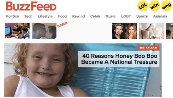 Homepage of Buzzfeed, Jonah Peretti's media site