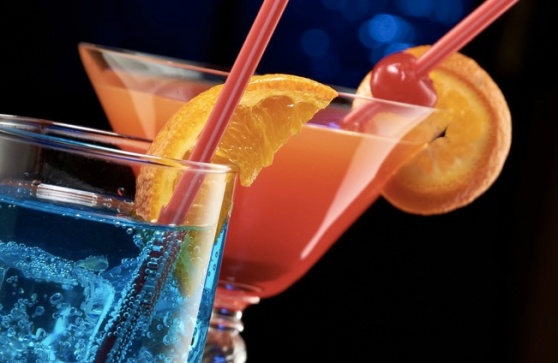 Photo of two colorful cocktails