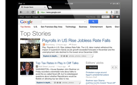 Google News has a new, tablet-friendly layout, shown here on the iPad