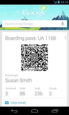 google now boarding pass card