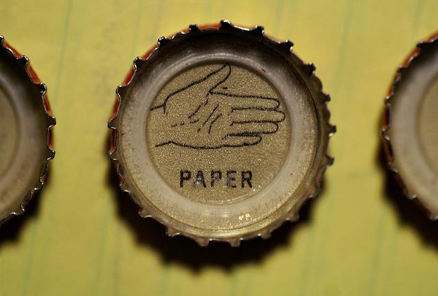 rock paper scissors bottlecaps