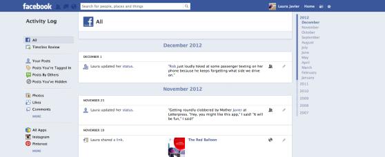 Facebook's more permission-friendly Active Log